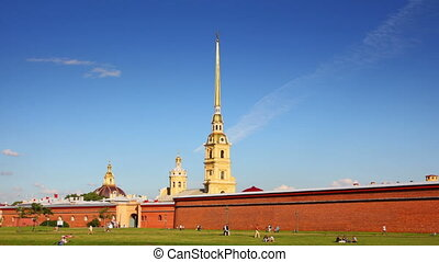 St. Peter and Paul fortress in Saint-Petersburg, Russia - timelapse in motion