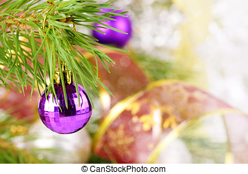 Christmas balls - Christmas decorations of glass balls over...