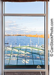 Contemporary plastic pvc window with nice scenic view