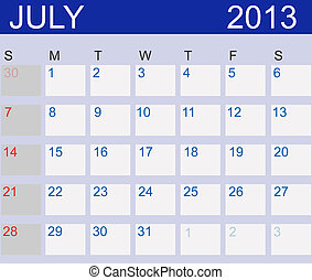 Calendar 2013 July Vector Illustration