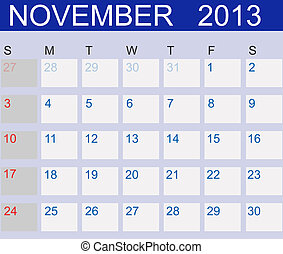 Calendar 2013. November. Vector Illustration