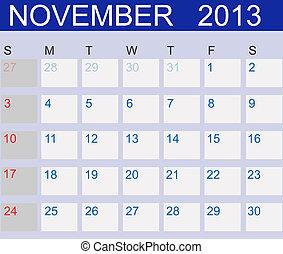 Calendar 2013. November. Vector Illustration