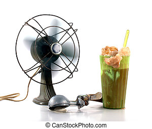 Cooling Off - Vintage rootbeer float with spinning fan and...