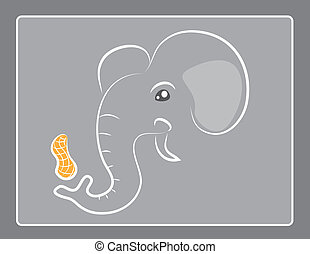Elephant Outline Peanut - Abstract elephant outline with...