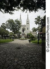 simon-bolivar park - statue simon bolivar park and cathedral...