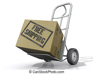 Free Shipping Box - A Box on a moving Dolly with the text...