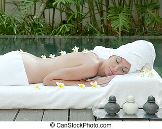 The young beautiful woman on Spa