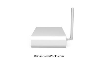 Wireless router rotates on white background