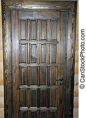 Brown door - A brown wooden door made by hand