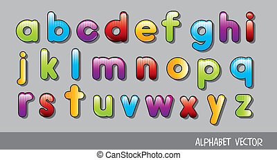alphabet - cute alphabet over gray background. vector...