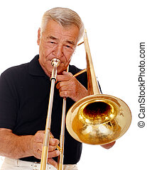 Senior Trombonist - Head and shoulders portrait of a senior...