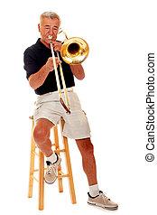 Senior Trombonist - Full-body portrait of a senior man...