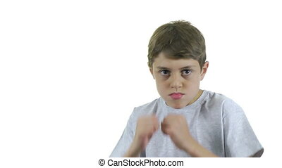 Angry child - A angry child against a white background