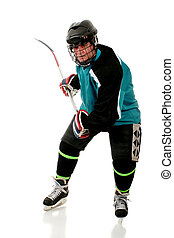 Senior Hockey Player - Senior man playing ice hockey in his...