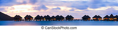 Overwater bungalows - Panorama of over the water bungalows...