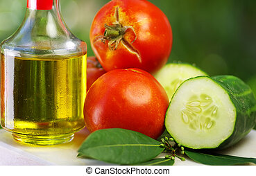 Olive oil, tomato and cucumber