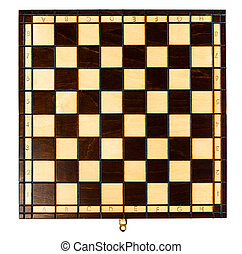 chess board - wooden chessboard, close up view from above