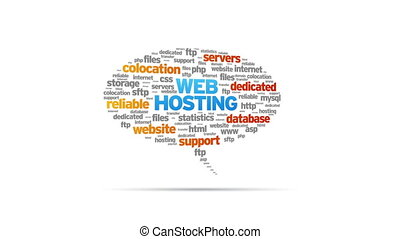 Web Hosting - Animated rotating Web Hosting Speech Bubble on...