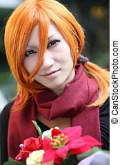 Cosplay Man with flower in close up