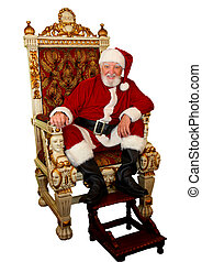 Santa Claus In Gold Chair - Santa Claus, caucasian male...
