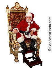 santa, Claus, en, oro, silla