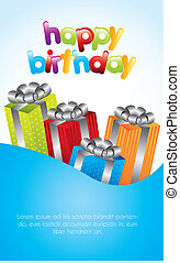 birthday card with colorful gifts over blue background....