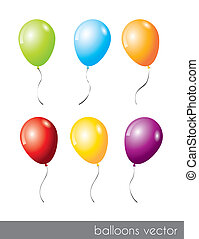 six balloons - six colorful balloons isolated over white...