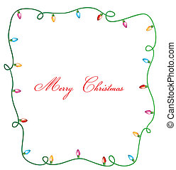 christmas lights, merry christmas card vector illustration