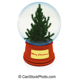 Christmas Snow globe with the falling snow and Christmas...