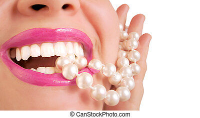 pearly whites - glamorous pink lips biting down on pearls
