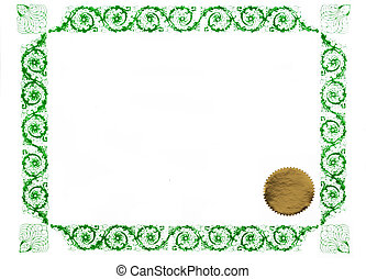 green certificate - certificate border and gold stamp, blank...