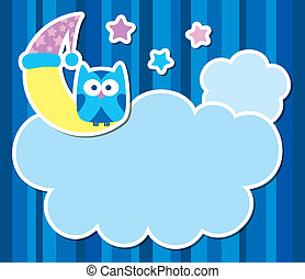 card with cartoon owl, clouds, stars and moon