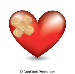 heart with adhesive bandage - red heart with adhesive...