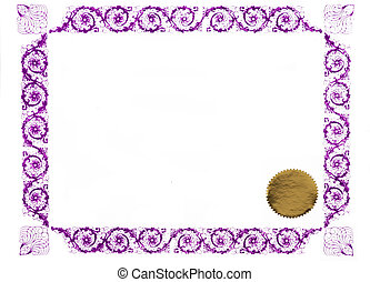 purple certificate - certificate border and gold stamp,...