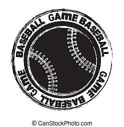 baseball - black baseball seal isolated over white...
