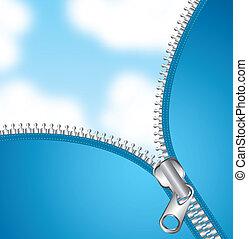 zipper - metallic zipper over sky background. vector...