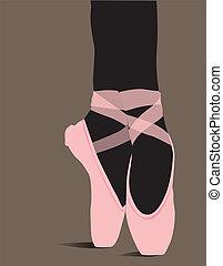 ballet, chaussures, vecteur, Illustration
