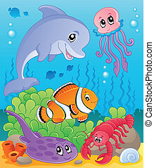 Image with undersea theme 5 - vector illustration.