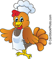 Cartoon chicken chef - vector illustration