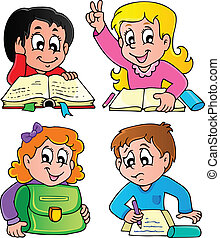 School pupils theme image 2 - vector illustration.