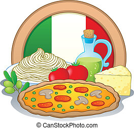 Italian food theme image 1 - vector illustration.