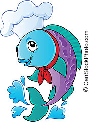 Cartoon fish chef - vector illustration.