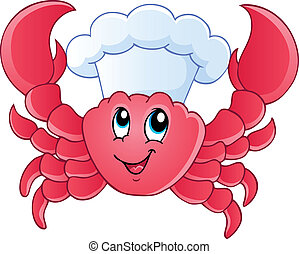 Cartoon crab chef - vector illustration