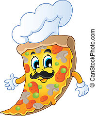 Cartoon pizza chef - vector illustration