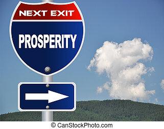 prosperidade, estrada, sinal
