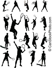 Big set of Tennis player Vector illustration for designers