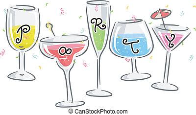 Party Drinks - Text Illustration Featuring Glasses Printed...