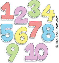 Number Doodles - Doodle Illustration Featuring the Numbers...