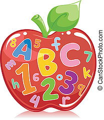 Apple Filled with Letters and Numbers - Text Illustration of...