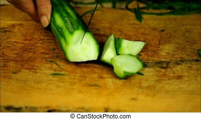 Cutting zucchini - Chopping zucchini. Chopping fresh...